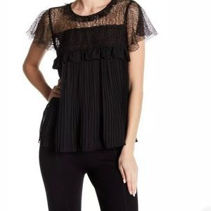 Romeo and Juliette Couture Black Lace Pleated Top